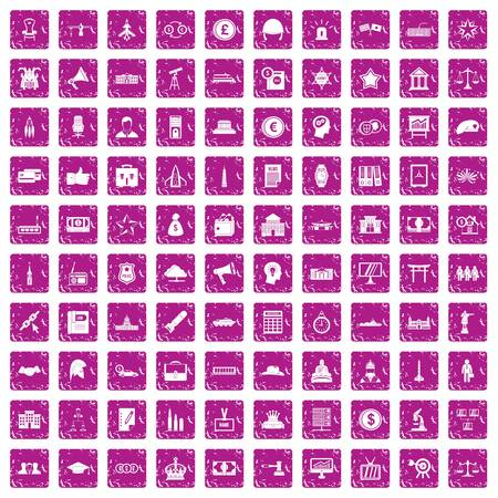 100 government icons set grunge pink Vector illustration.