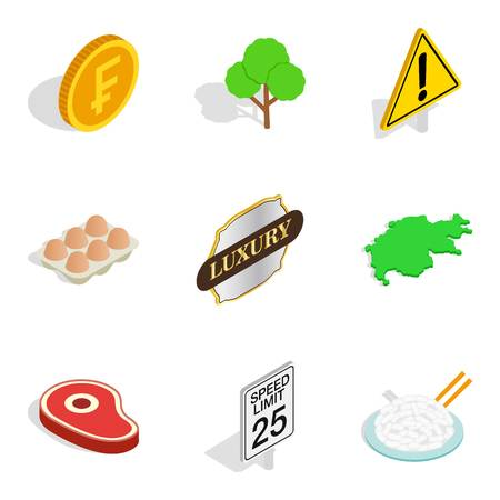 Swiss icons set, isometric style Vector illustration.