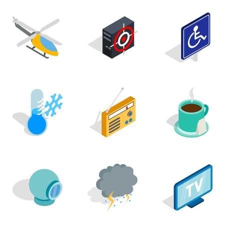 Set di icone di iscrizione. Un insieme isometrico di 9 icone di vettore dell'iscrizione per il web isolato su fondo bianco