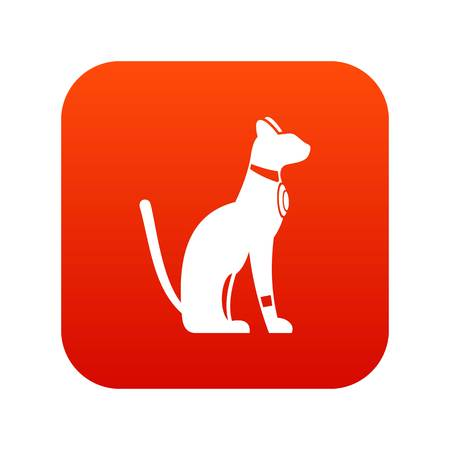 Egyptian cat icon digital red for any design isolated on white vector illustration