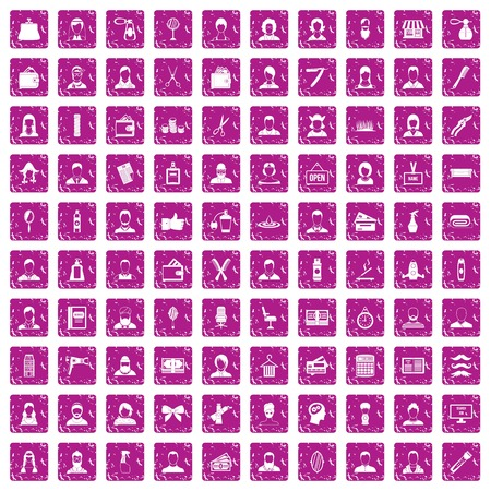 Hairdresser icons set in grunge style pink color isolated on white background vector illustration