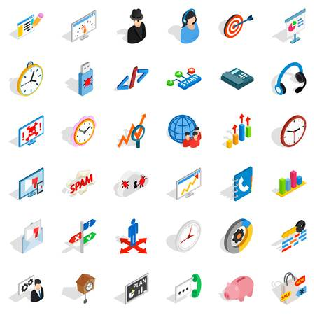 Countertop icons set. Isometric set of countertop vector icons for web isolated on white background