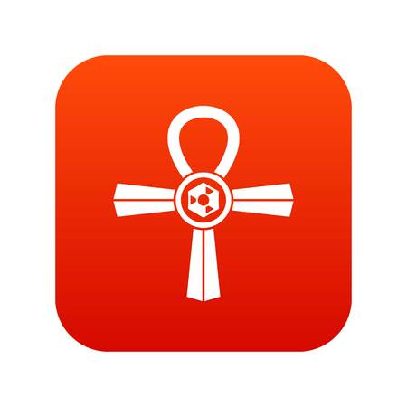Egypt Ankh symbol icon digital red for any design isolated on white vector illustration