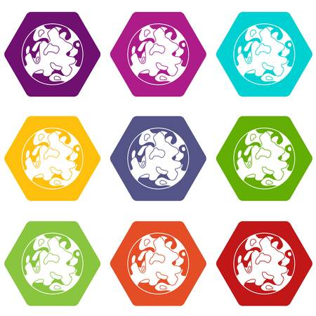 A Small planet icon set many color hexahedron isolated on white vector illustration