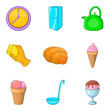 Household goods icons set. Cartoon set of 9 household goods vector icons for web isolated on white background