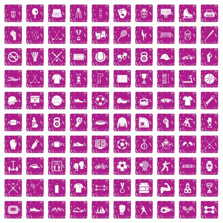 100 athlete icons set in grunge style pink color isolated on white background vector illustration Stock Illustratie