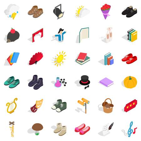 Old clothes icons set. Isometric set of 36 old clothes vector icons for web isolated on white background Illustration