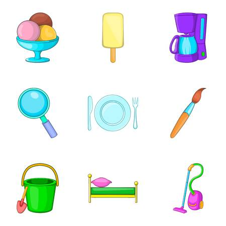 Household articles icons set. Cartoon set of 9 household articles vector icons for web isolated on white background Vektoros illusztráció