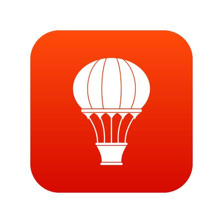 Hot air balloon with basket icon digital red for any design isolated on white vector illustration Illustration