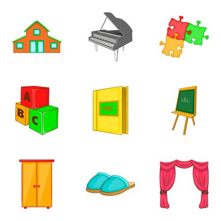 Household property icons set. Cartoon set of 9 household property vector icons for web isolated on white background