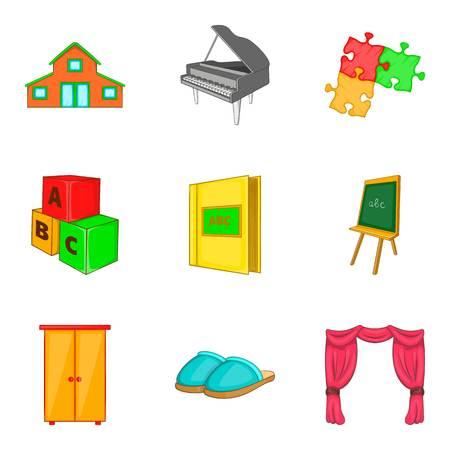 Household property icons set. Cartoon set of 9 household property vector icons for web isolated on white background