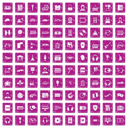 100 headphones icons set grunge pink Vector illustration. Иллюстрация