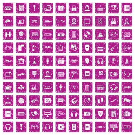 100 headphones icons set grunge pink Vector illustration. Vettoriali