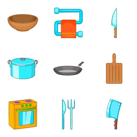 Personal house icons set, cartoon style Vector illustration.
