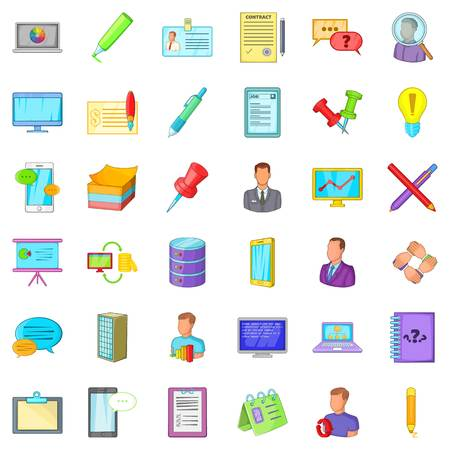 Accounting department icons set Illustration