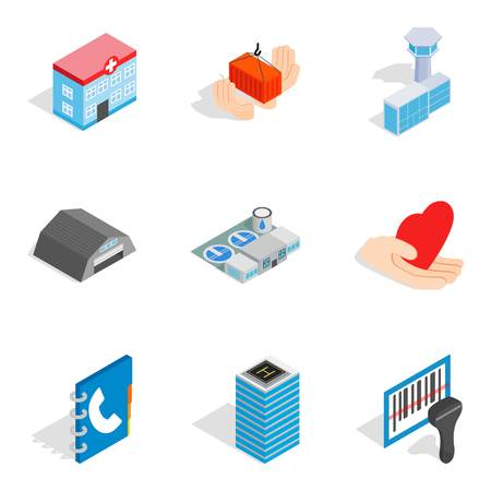 Owner of apartment icons set, isometric style