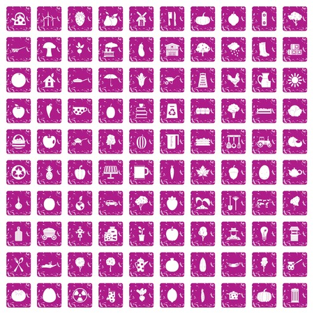 100 health food icons set grunge pink