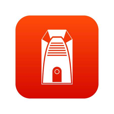 Modern electric home heater icon digital red