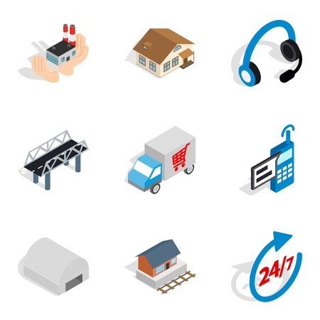 Shipping home icons set. Isometric set of 9 shipping home vector icons for web isolated on white background