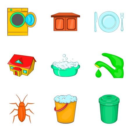 Flushing icons set, cartoon style Illustration