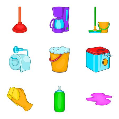 Home cleaning icons set, cartoon style vector illustration.