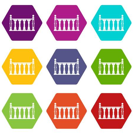 Balustrade icon set color hexahedron Stock Illustratie
