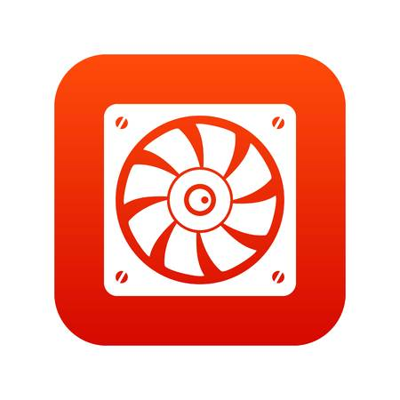 Computer fan icon digital red
