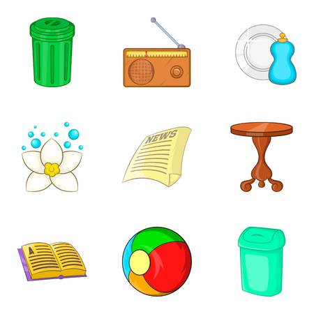Launder icons set. Cartoon set of 9 launder vector icons for web isolated on white background  イラスト・ベクター素材