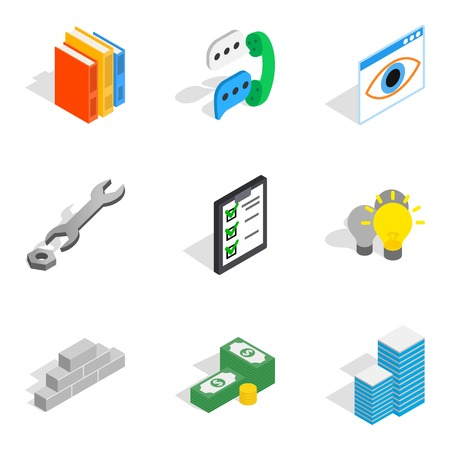 Business staff icons set. Isometric set of 9 business staff vector icons for web isolated on white background