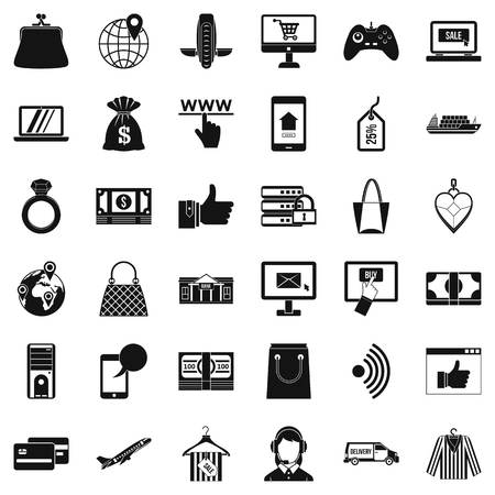 Online dialog icons set. Simple set of 36 online dialog vector icons for web isolated on white background Illustration