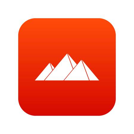 Pyramids in Giza icon digital red for any design isolated on white vector illustration