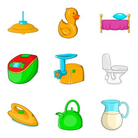 Wash wall icons set, cartoon style 写真素材 - 96399599