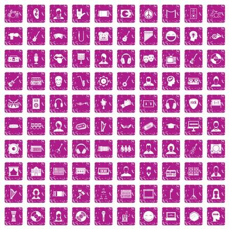 100 audience icons set grunge pink