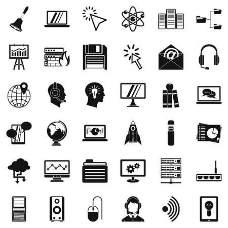 Online workshop icons set, simple style