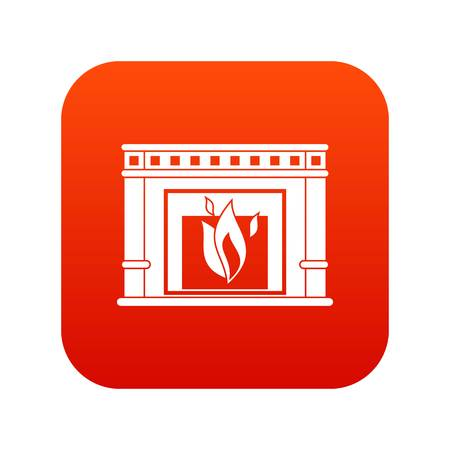Electric fireplace icon digital red.