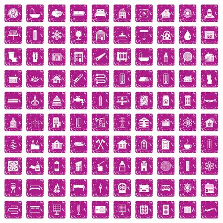 100 heating icons set in grunge style pink color isolated on white background vector illustration