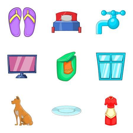 ハウス洗浄アイコンセット。白い背景に隔離されたウェブのための9ハウス洗浄ベクトルアイコンの漫画セット