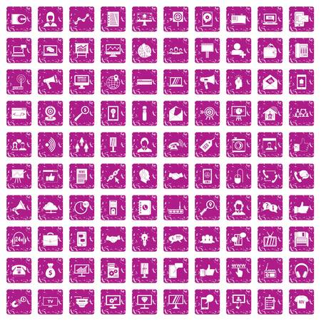 100 help desk icons set in grunge style pink color isolated on white background vector illustration Vectores