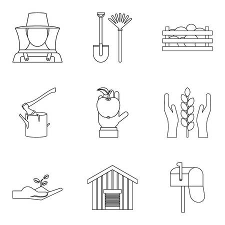 Members of household icons set. Outline set of 9 members of household vector icons for web isolated on white background
