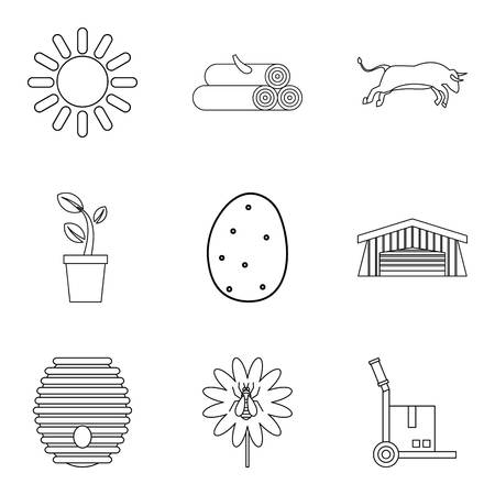 Ancestral home icons set, outline style vector illustration.