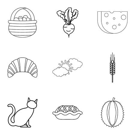 Ancestral homeland icons set, outline style