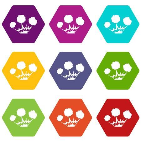 Explosion icon set color hexahedron