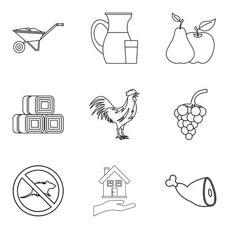 Manager at home icons set, outline style
