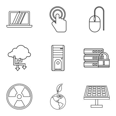 Operational service icons set, outline style. Ilustração