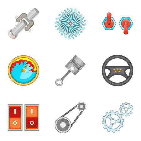 Maintenance support icons set, cartoon style