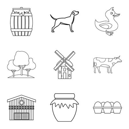 Family house icons set, outline style.