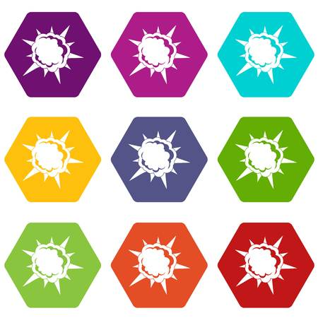 Powerful explosion icon set color hexahedron 向量圖像