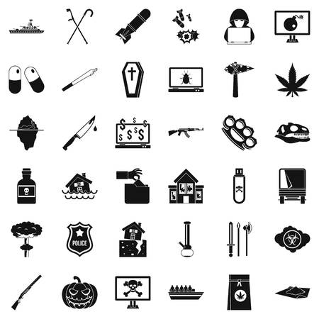 Tyranny icons set, simple style Illusztráció