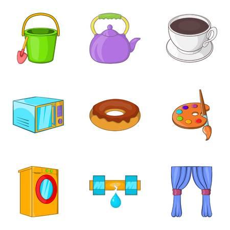 Children treat icons set, cartoon style