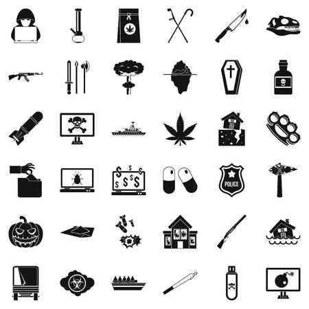 Oppression icons set, simple style